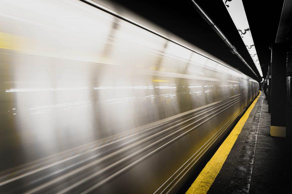 fast moving public transit train